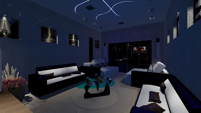 Vizualizace moderní obývací stěny